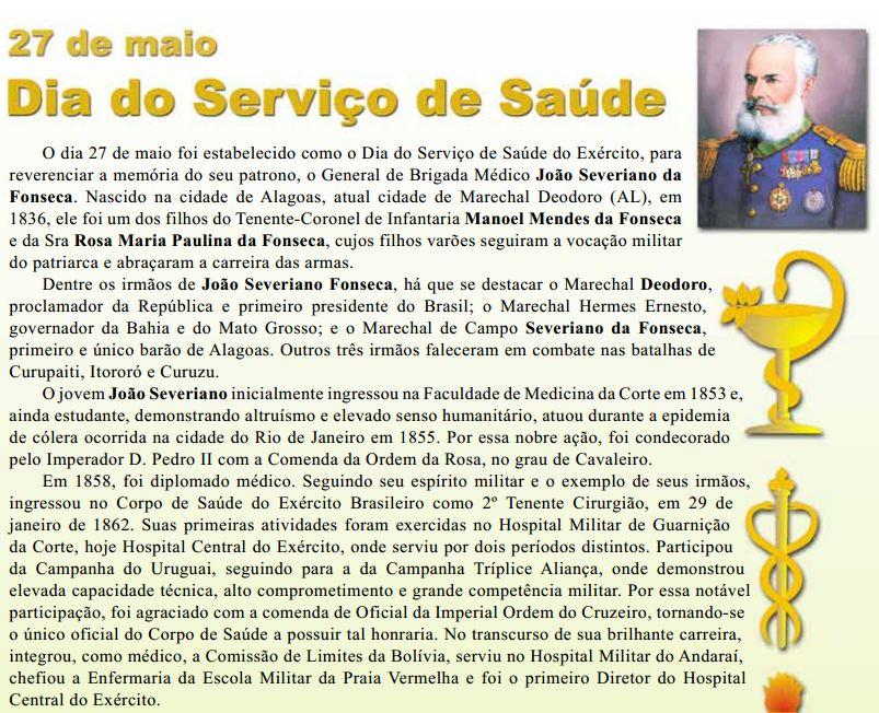 27 de maio – Dia do Serviço de Saúde do Exército