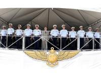 Autoridades durante cerimônia militar