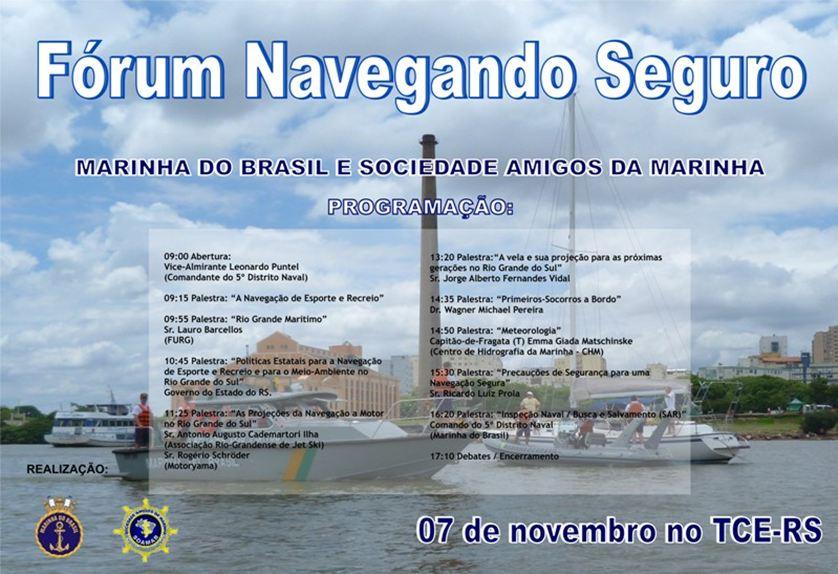 Marinha convida navegadores para Fórum Navegando Seguro
