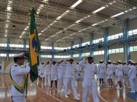 Atletas militares durante cerimônia de incorporação à Marinha do Brasil