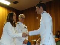 CT Predes recebe cumprimentos da Profª. Drª. Liedi Legi Bariani Bernucci, Vice-Diretora da EPUSP, na presença do Diretor de Engenharia Naval