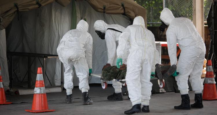 Participantes do curso presenciaram simulação de ataque com gás e primeiros socorros às vítimas