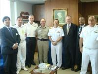 Comitiva foi recepcionada pelo Diretor de Aeronáutica da Marinha (ao centro)