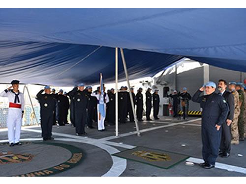 Força-Tarefa Marítima da UNIFIL realiza cerimônia de Passagem do Navio Capitânia