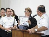 Presidente da SOAMAR Barra Bonita e Comandante do 8ºDN durante a cerimônia de posse da Diretoria