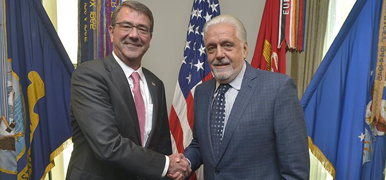 Wagner e Carter trataram dos Jogos Olímpicos Rio 2016 em reunião no Pentágono