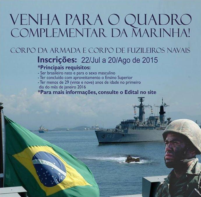 Marinha: concurso para oficiais termina nesta quinta-feira