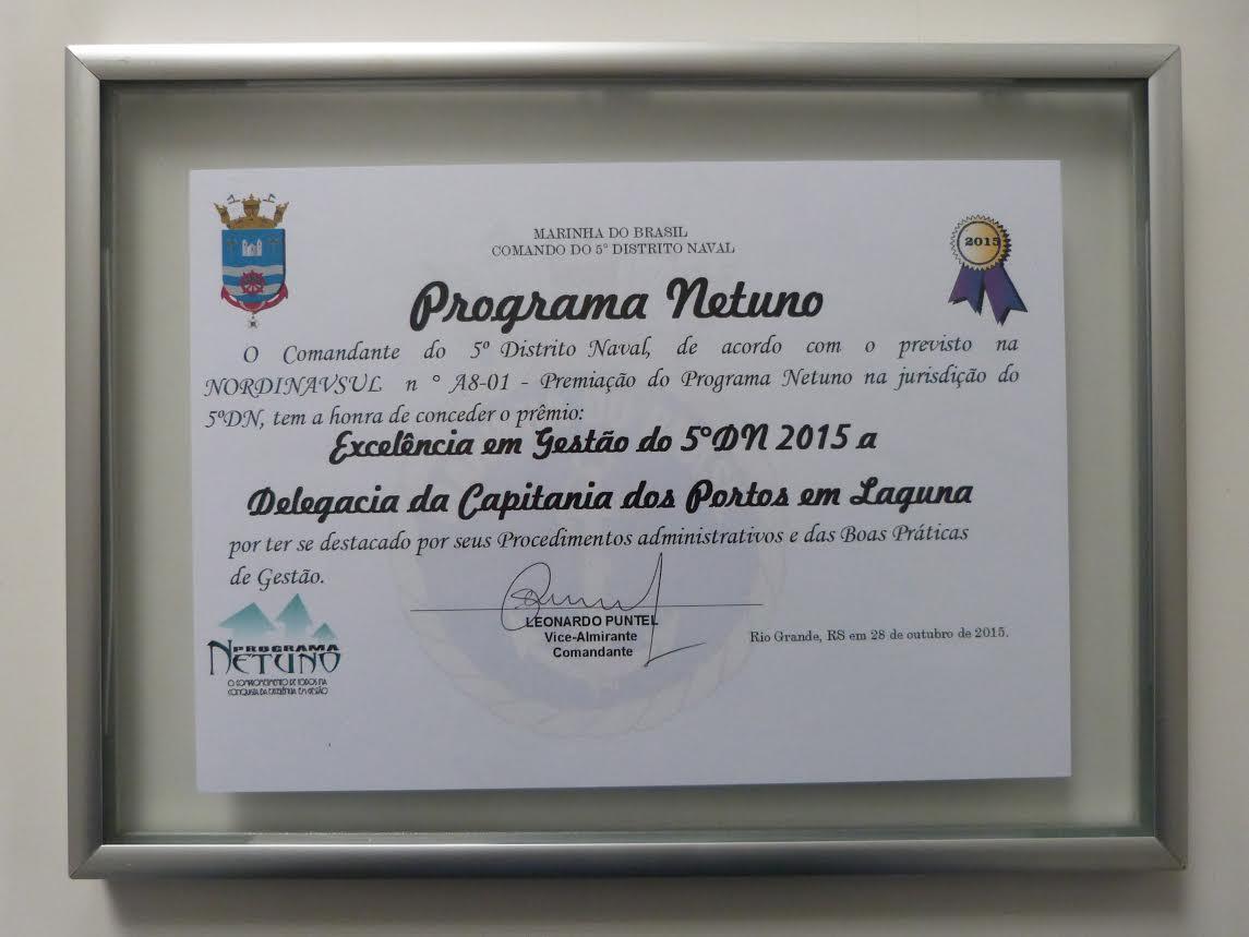 """Certificado  """"Excelência em Gestão do 5ºDN 2015"""""""