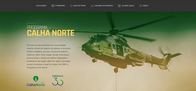 Site traz informações sobre destinação de recursos e funcionamento da vertente militar e civil do Programa Calha Norte