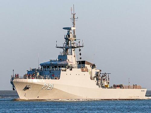 Um Navio Patrulha Oceânico foi utilizado nas áreas de interesse do evento-teste