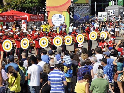 Banda Marcial do CFN se apresenta na abertura do Boulevard Olímpico