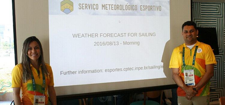 Meteorologistas da Marinha monitoram as condições climáticas para as provas de vela e maratona olímpica.