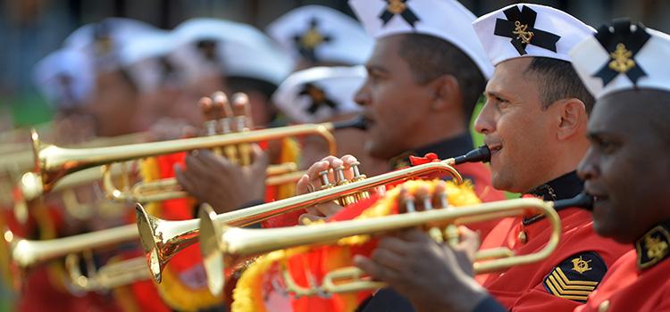 A Banda Marcial do Corpo de Fuzileiros Navais desfilará em formação de âncora, símbolo da Marinha