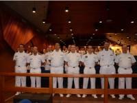 Vice-Almirante Hecht, CMG Schonfelder, representantes das OM e militares do Com9ºDN