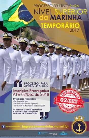 Marinha prorroga inscrições para Oficiais Temporários