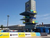 Atletas utilizam a plataforma de Saltos Ornamentas do CEFAN