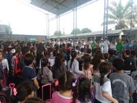 Banda do 2ºBtlOpRib na apresentação para alunos da escola