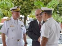 Vice-Almirante Hecht, Vice-Almirante Savio e CMG Welliton durante visita da PEM