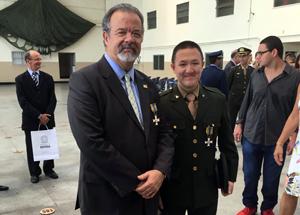 Jungmann também esteve com o atleta militar, Felipe Wu