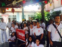 Militares participaram com as crianças de ação contra o Aedes aegypti