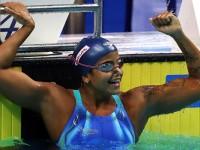 O outro ouro brasileiro conquistado no Mundial, na modalidade de 50 metros costas, veio pela também sargento da Marinha, Etiene Medeiros