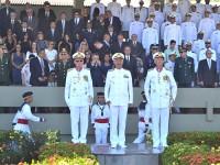 (Esq. para dir.) Vice-Almirante Edervaldo, Almirante de Esquadra Fernandes e Vice-Almirante Alipio Jorge