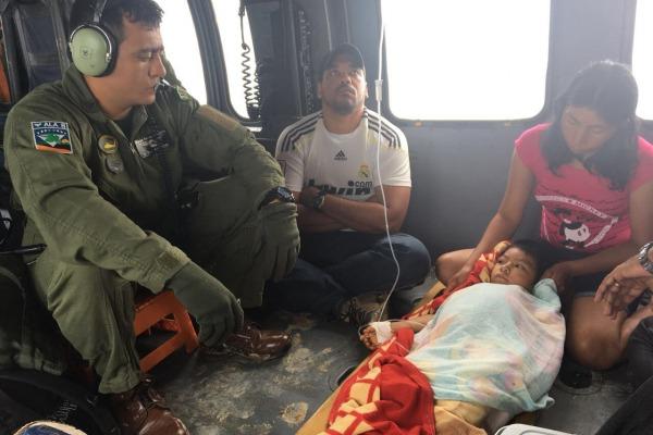 Esquadrão Harpia resgata criança indígena que havia sido picada por cobra