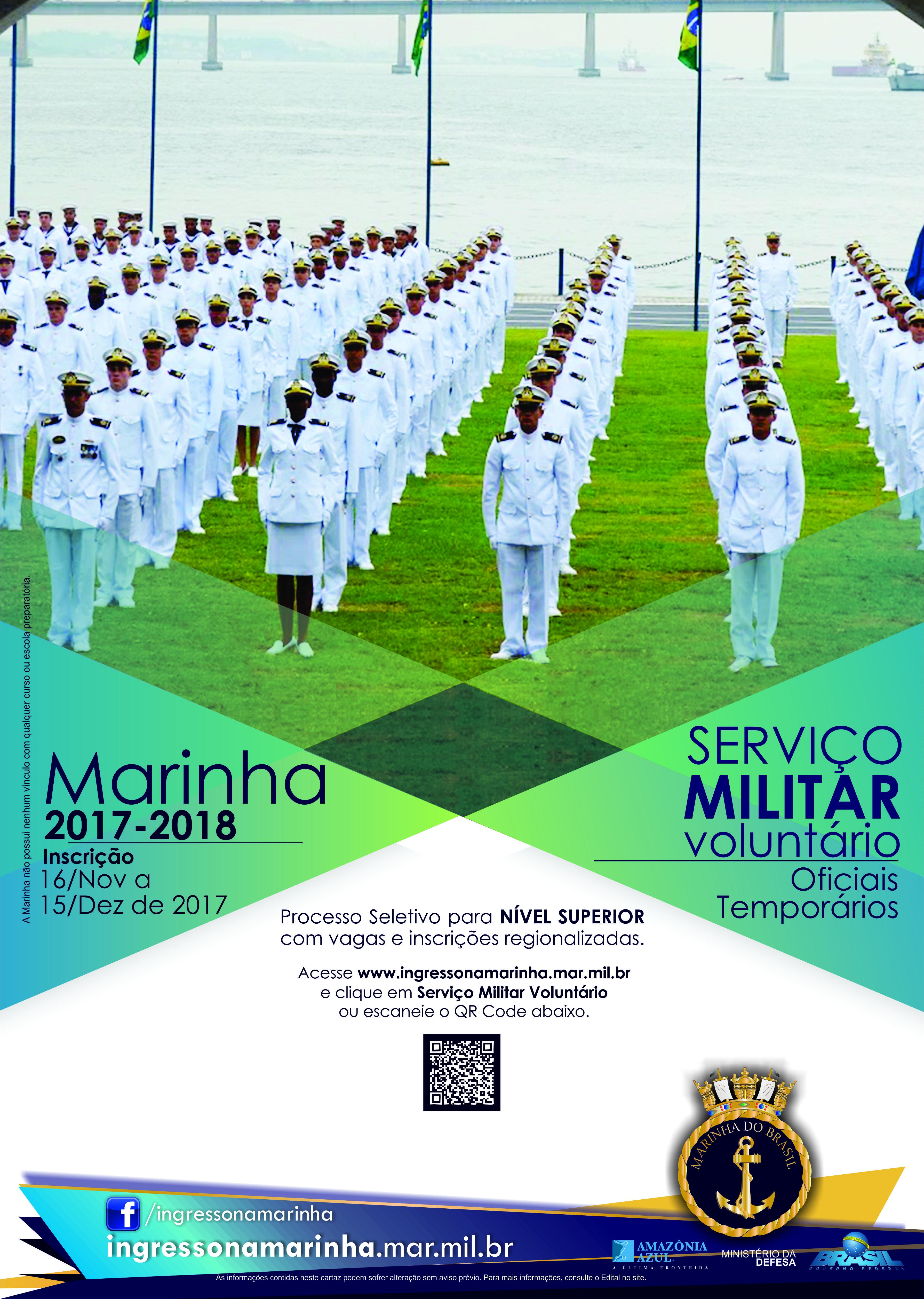 Marinha do Brasil abre processo seletivo para oficiais temporários