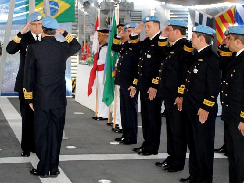 Corveta Barroso realiza cerimônia de entrega de medalhas da UNIFIL no Líbano