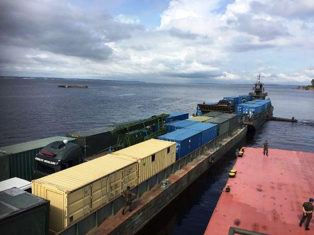 Módulo logístico transporta mais de 600 toneladas de material da AMAZONLOG17, de Manaus a Porto Velho