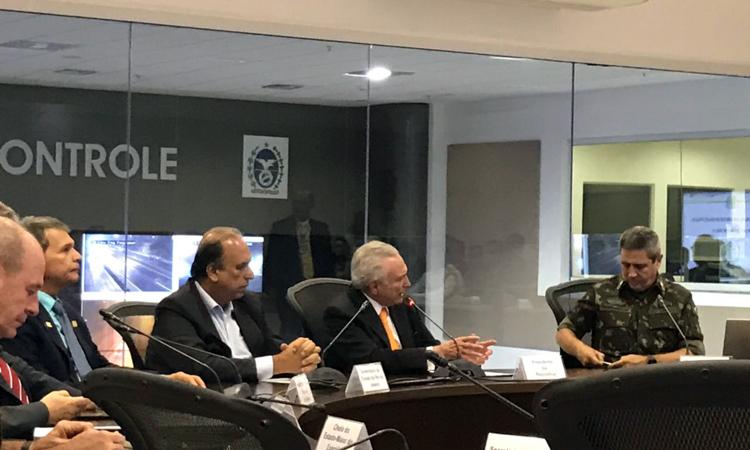 Presidente Temer e ministros da Defesa, GSI e Segurança participam de balanço de um mês da intervenção federal