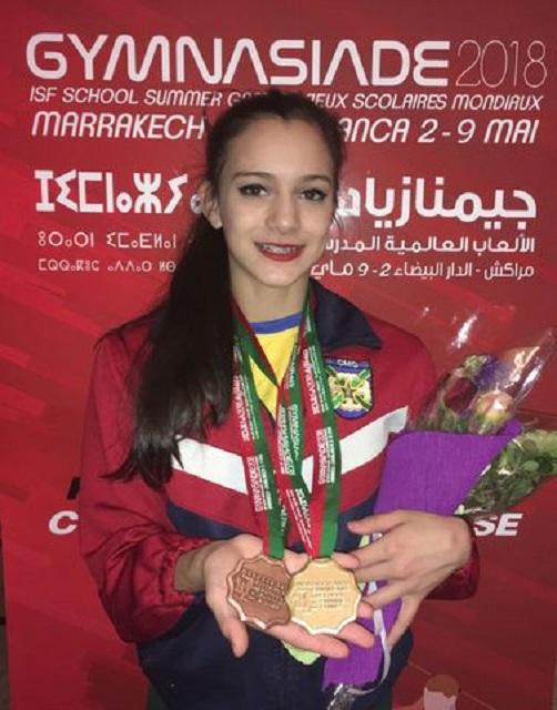 Aluna do Colégio Militar de Curitiba é ouro na Ginástica Olímpica no Marrocos