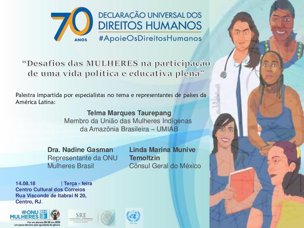 No Rio, Consulado do México e ONU debatem participação da mulher na política e educação; participe!