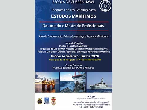 Escola de Guerra Naval abre inscrições para Mestrado e Doutorado Programa de Pós-Graduação em Estudos Marítimos