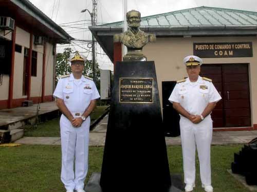 Inauguração dos bustos do Almirante Tamandaré e do Almirante Padilla foi realizada em Iquitos, no Peru