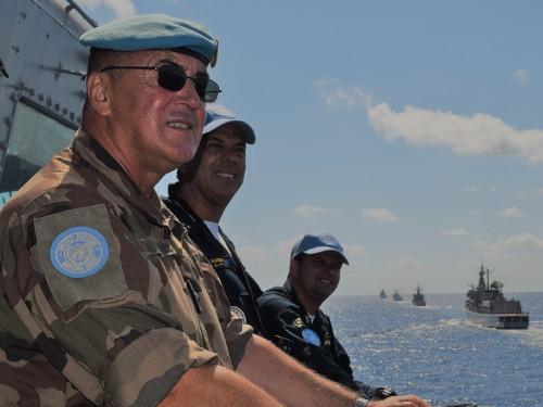 Força-Tarefa Marítima da UNIFIL realiza exercício de manobras táticas com todos os navios componentes da Força
