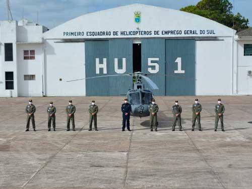 1º Esquadrão de Helicópteros de Emprego Geral do Sul realiza voo de reinauguração da aeronave N-7050