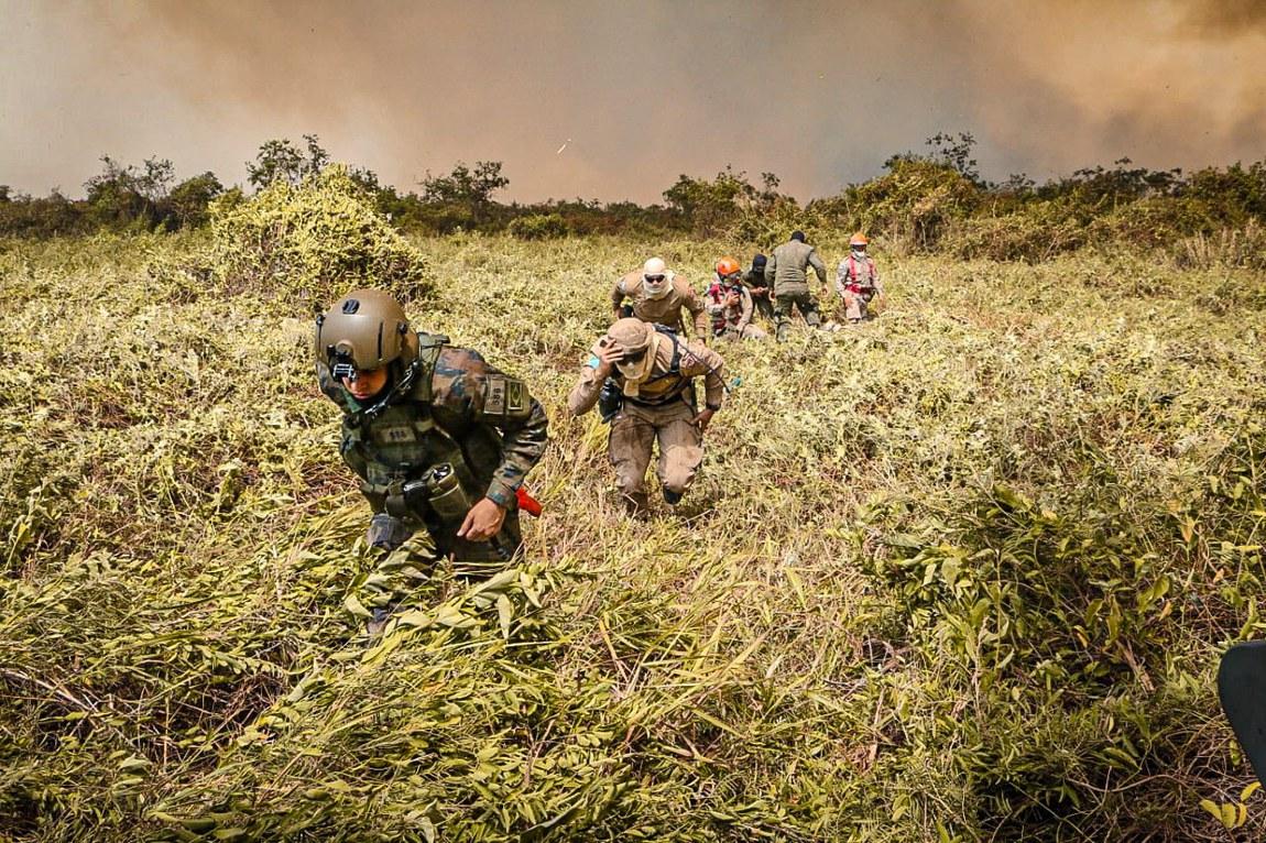 Forças Armadas combatem incêndios diariamente na região do Pantanal