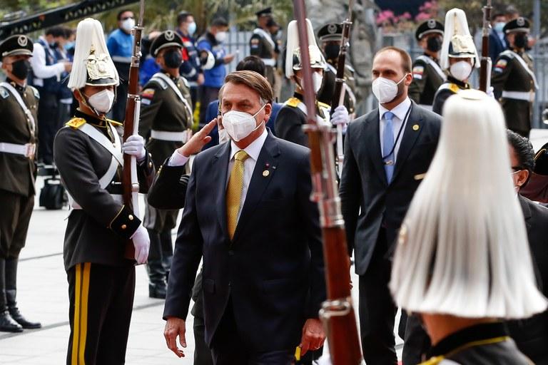 Presidente Jair Bolsonaro participa da cerimônia de posse do presidente do Equador