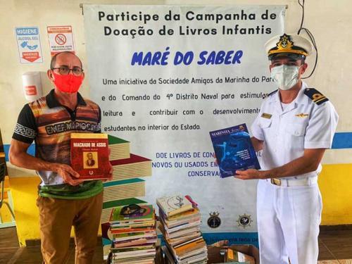 """Marinha doa 850 livros da campanha """"Maré do Saber"""" a escolas do interior do Pará"""